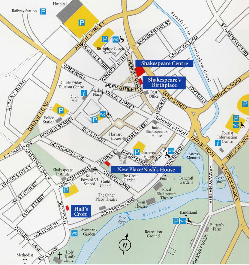 Detailed City Map Of Stratford Upon Avon Street